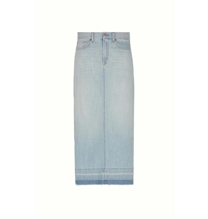 7 For All Mankind 7 For All Mankind Denim Blue Maxi Skirt Unrolled JSLXR890