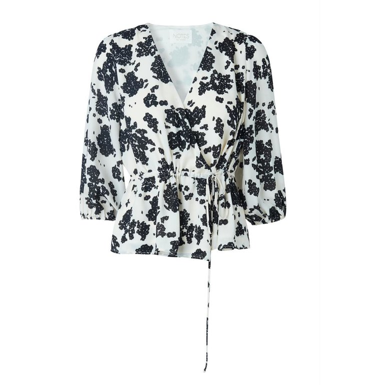Notes du Nord Notes du Nord Black/White Orchid Print Blouse 11522