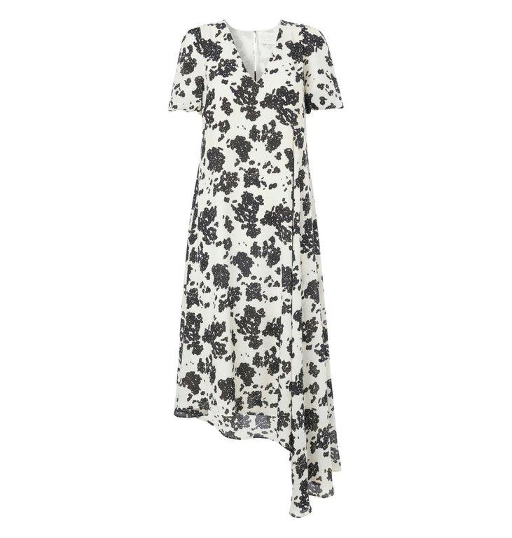 Notes du Nord Notes du Nord Black/White Orchid Print Dress 11525