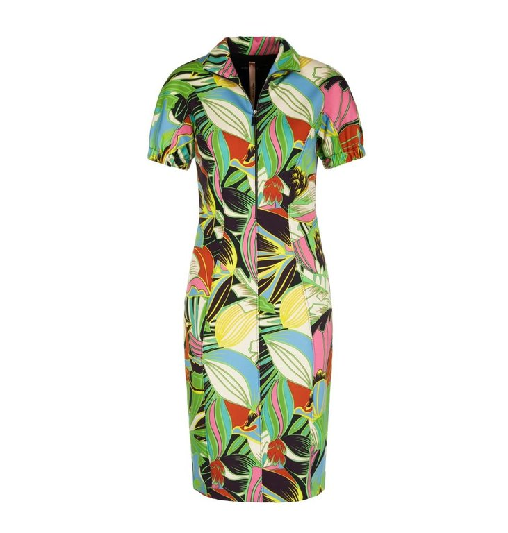 Marc Cain Marc Cain Green Floral Dress NA2122-J02