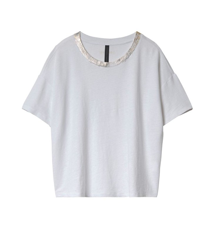 10Days 10Days White Cropped Tee Gold 20.742.0201/3