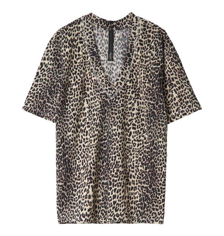10Days 10Days White Sand Reversible V-Neck Tee Leopard 20.753.0201/3