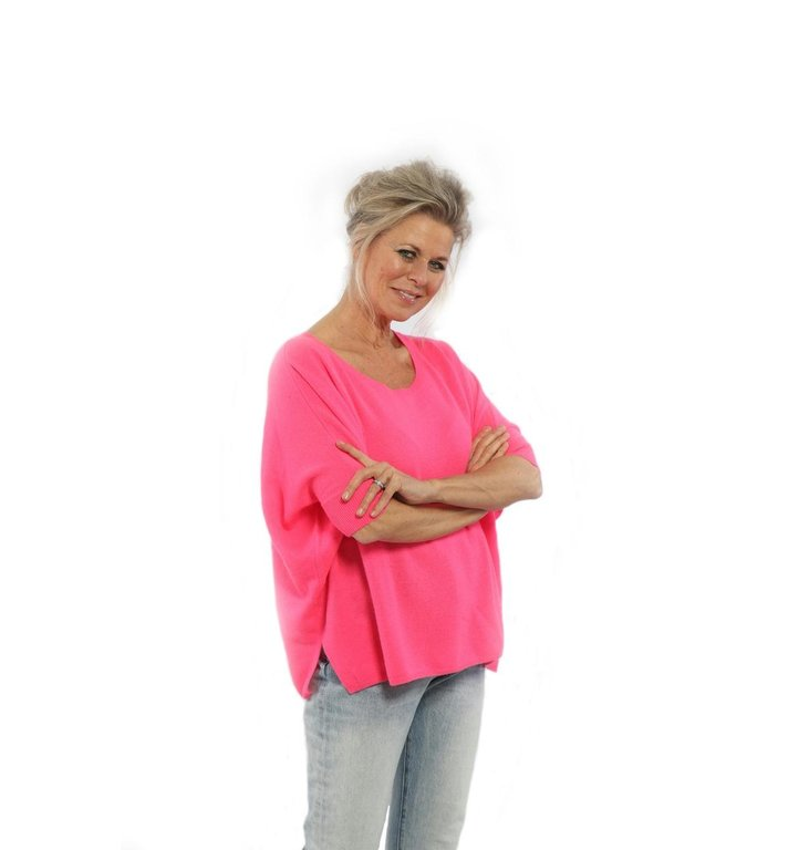 Absolute Cashmere Absolute Cashmere Pink Poncho Col Round AC092011C