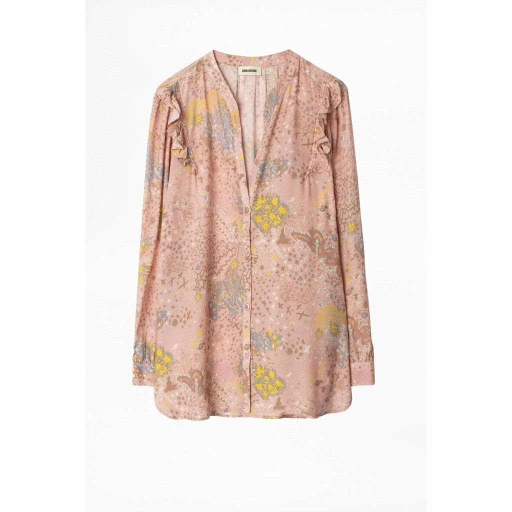 Zadig & Voltaire Pink/Multi Colour Blouse Tygg Print Glam