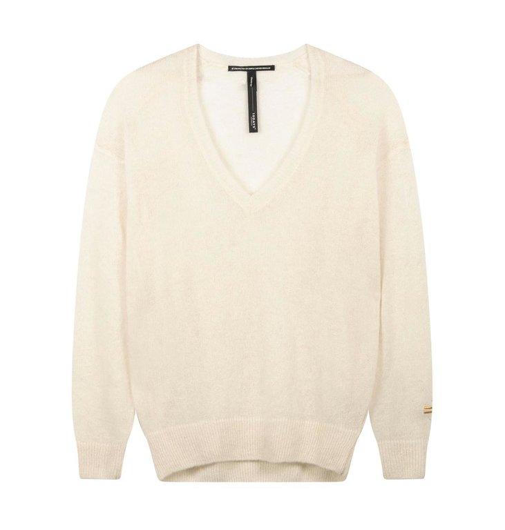 10Days 10Days Soft White Sweater V-Neck Alpaca 20.602.0202
