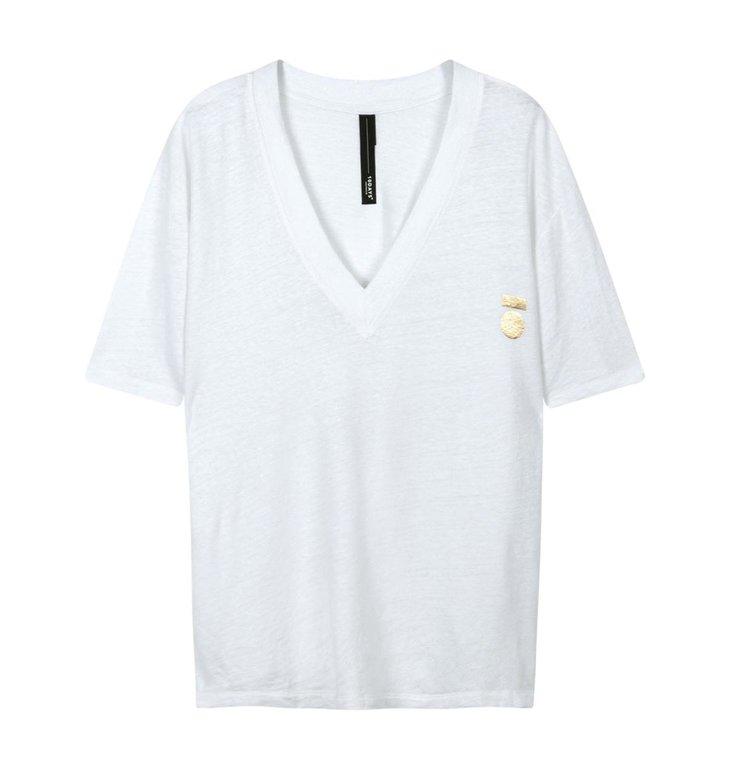 10Days 10Days White Low V-Neck Tee Linen 20.750.0202