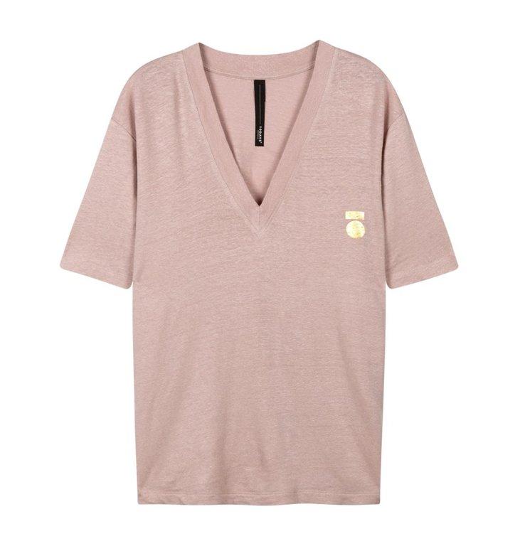 10Days 10Days Light Pink Melee Low V-Neck Tee Linen 20.750.0202