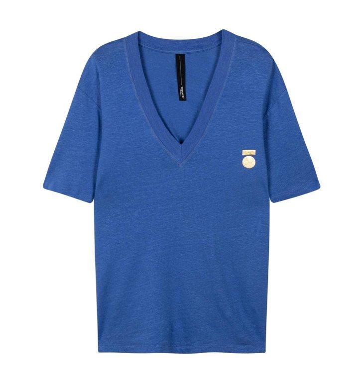10Days 10Days Blue Low V-Neck Tee Linen 20.750.0202