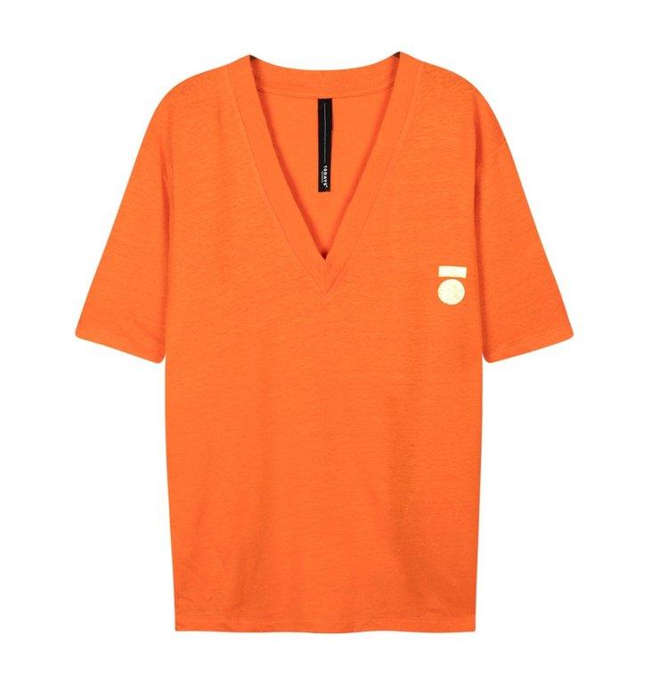 10Days 10Days Orange Low V-Neck Tee Linen 20.750.0202