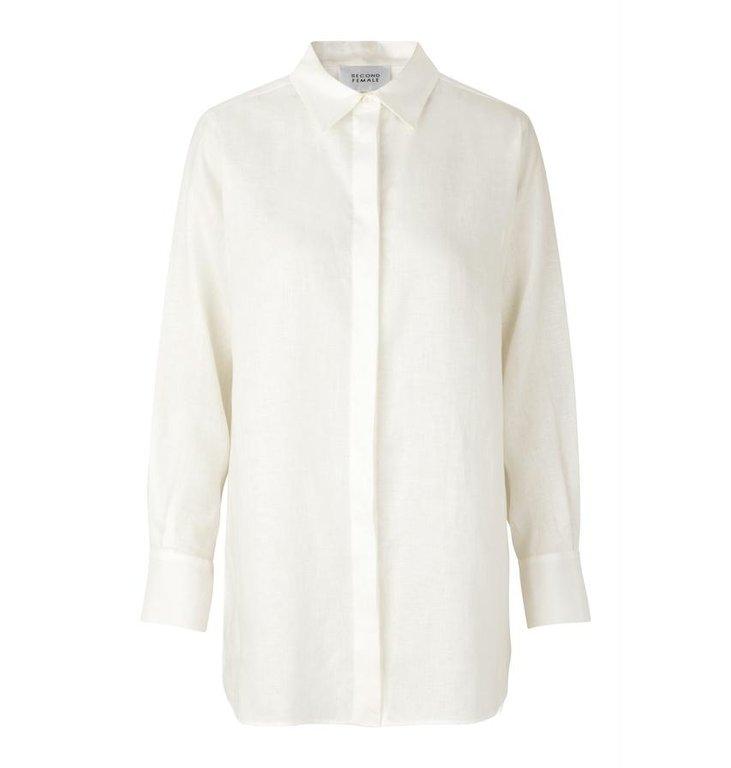 Second Female Second Female White Lune Shirt Linen 53357