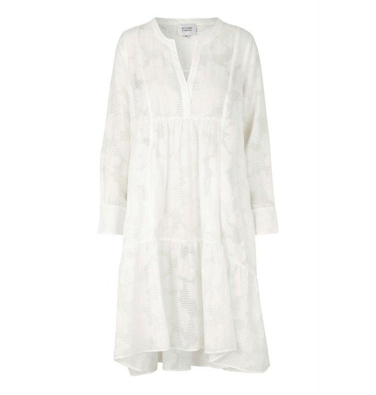 Second Female Second Female White Mila LS Midi Dress 53341