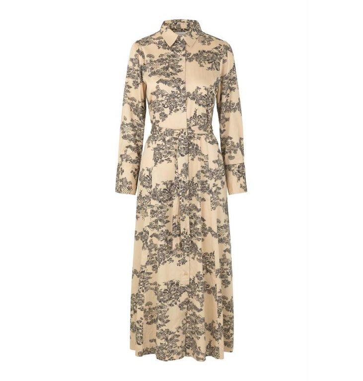 Second Female Second Female Beige Picknick Maxi Dress 53489