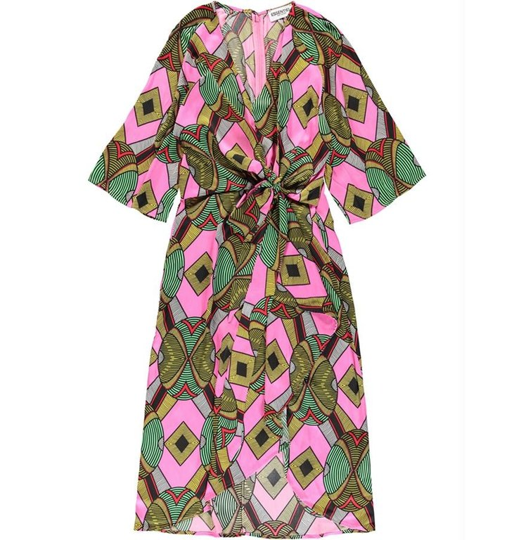 Essentiel Antwerp Essentiel Antwerp Pink/Multi Colour Midi Dress Wakuna