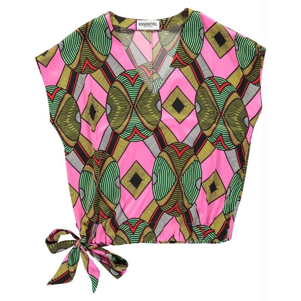 Essentiel Antwerp Pink/Multi Colour V-Neck Top Wakosta