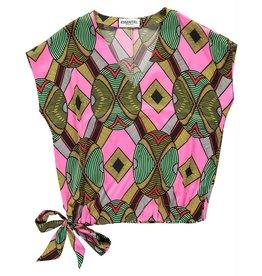 Essentiel Antwerp Essentiel Antwerp Pink/Multi Colour V-Neck Top Wakosta