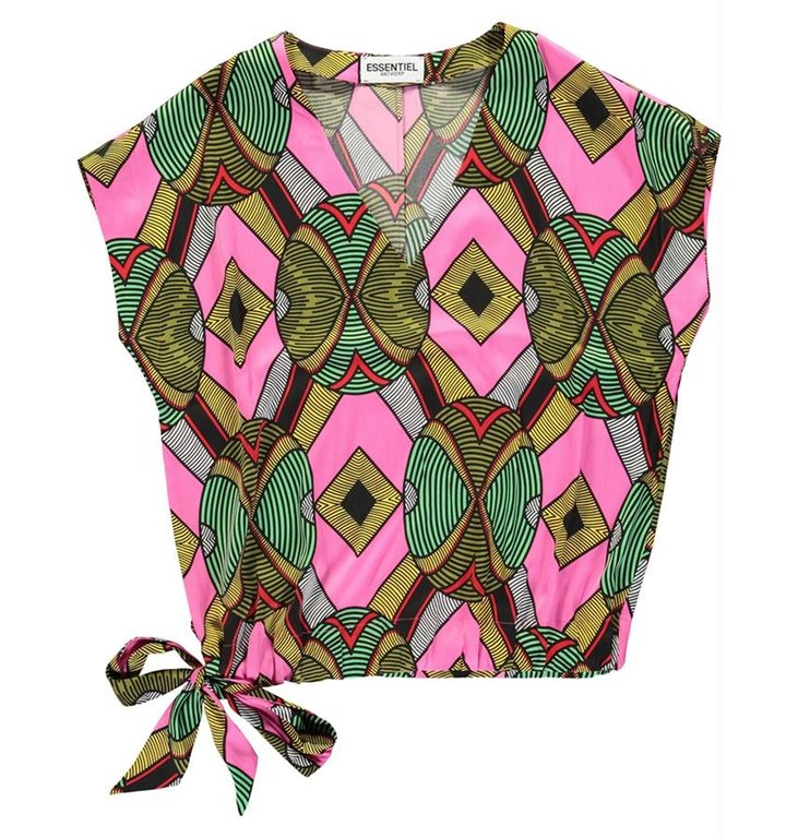 Essentiel Antwerp Essentiel Antwerp Pink/Multi Colour V-Neck Top Wakosta