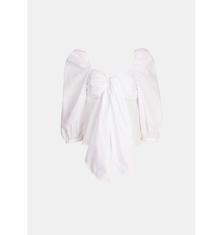 Essentiel Antwerp Essentiel Antwerp White Knot Top Blouse Wavy
