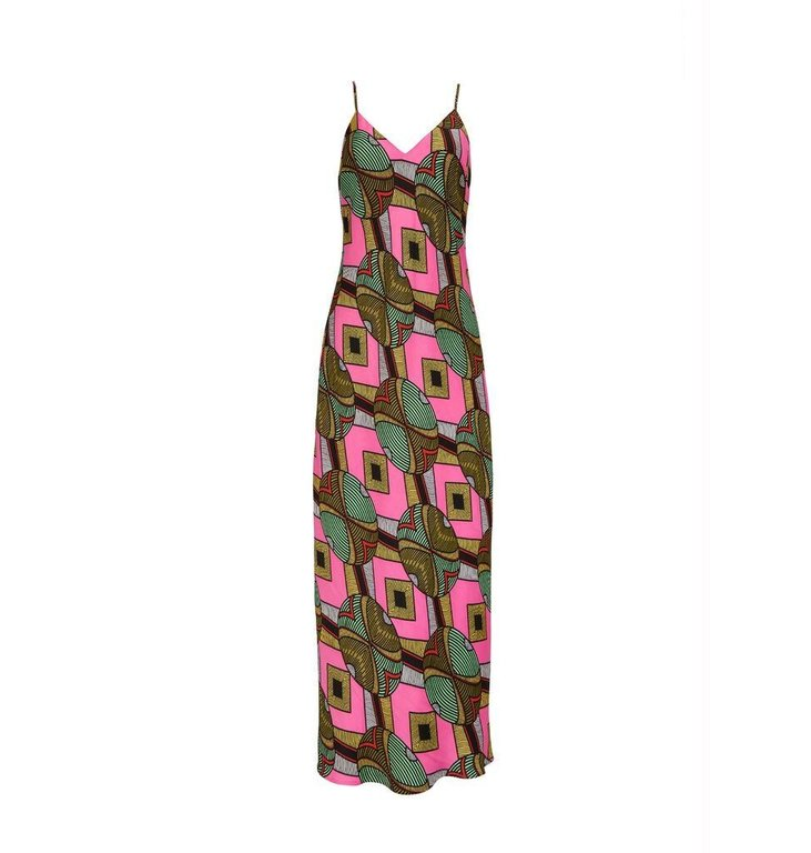 Essentiel Antwerp Essentiel Antwerp Pink/Multi Colour Slip Dress Whysio