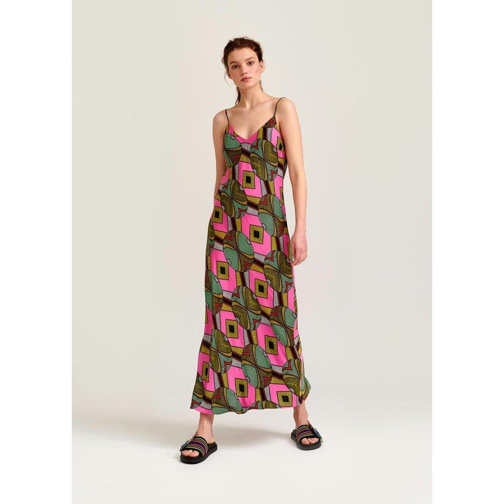 Essentiel Antwerp Pink/Multi Colour Slip Dress Whysio