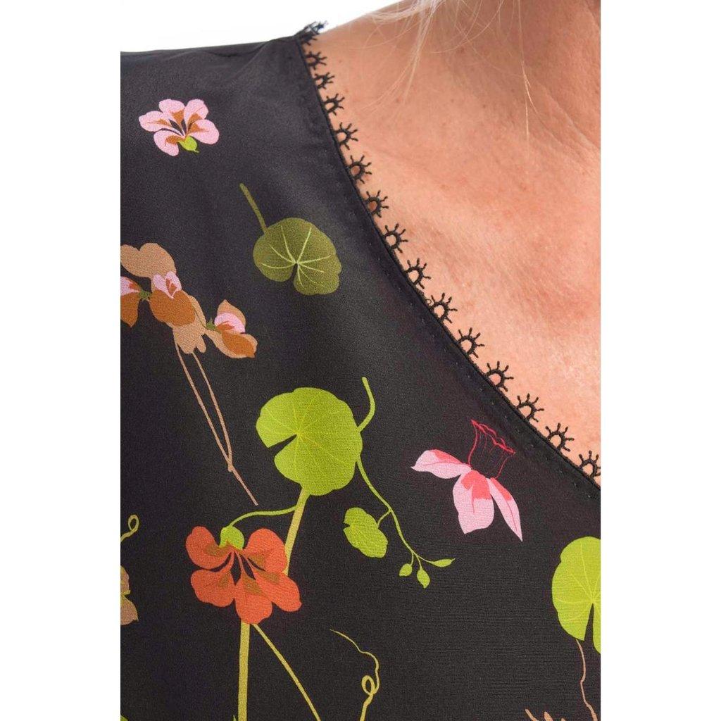 Marc Cain Black Floral Blouse PC5501-W10