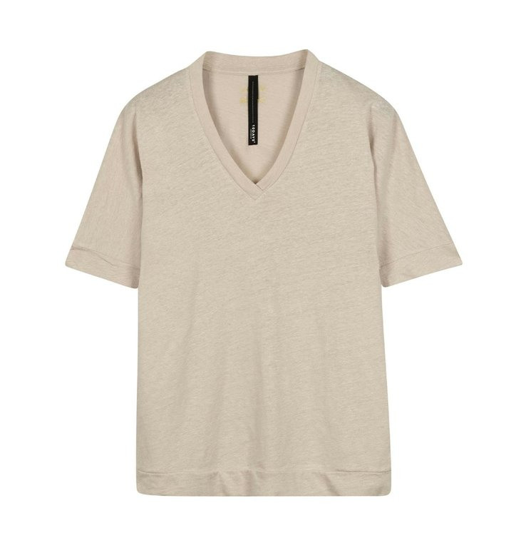10Days 10Days Light Safari V-neck Tee Linen 20-749-0203