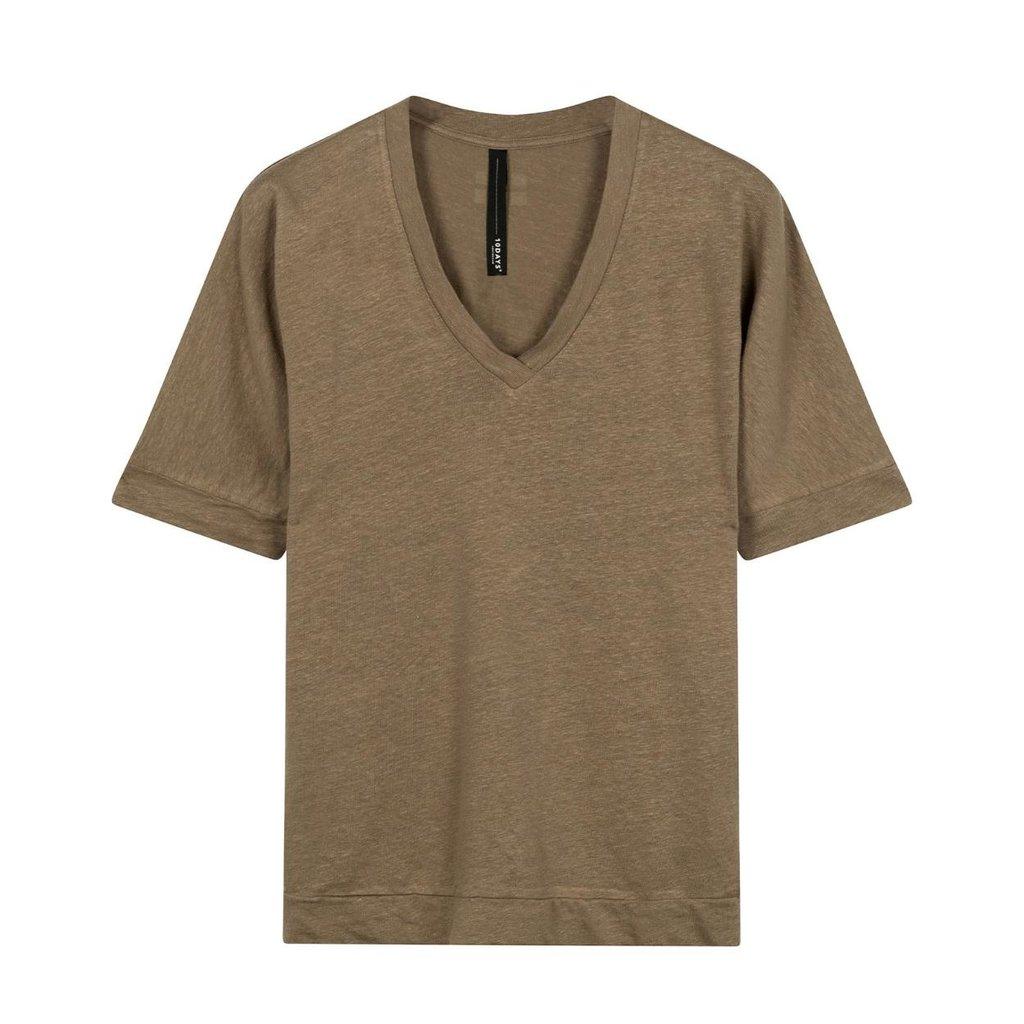 10Days Dark Safari V-neck Tee Linen 20-749-0203