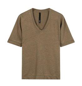 10Days 10Days Dark Safari V-neck Tee Linen 20-749-0203