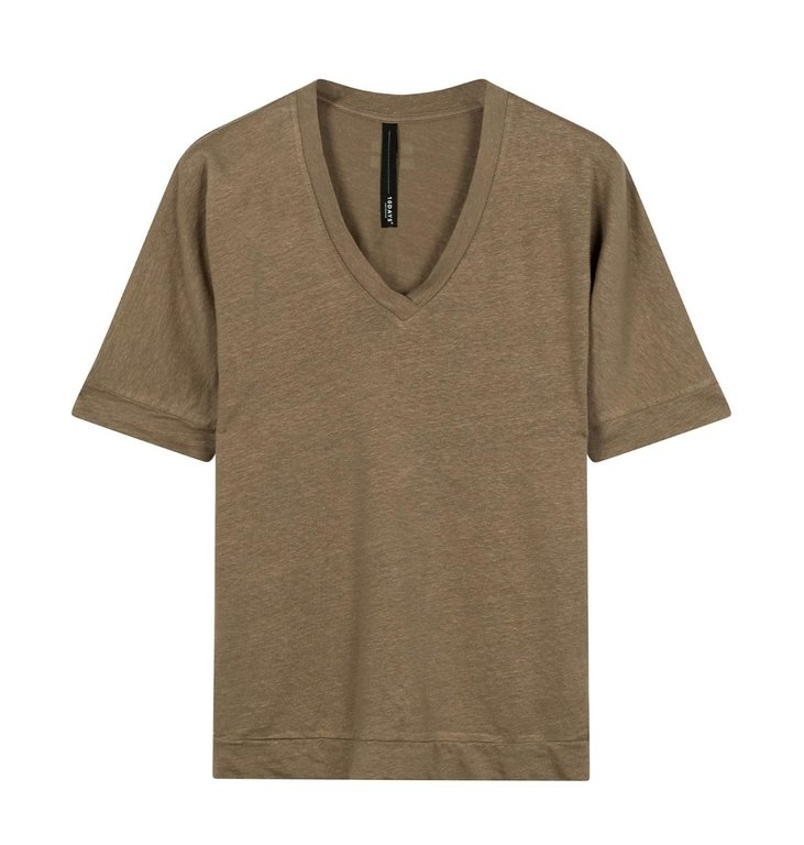 10Days 10Days Dark Safari V-neck Tee Linen 20-749-0203