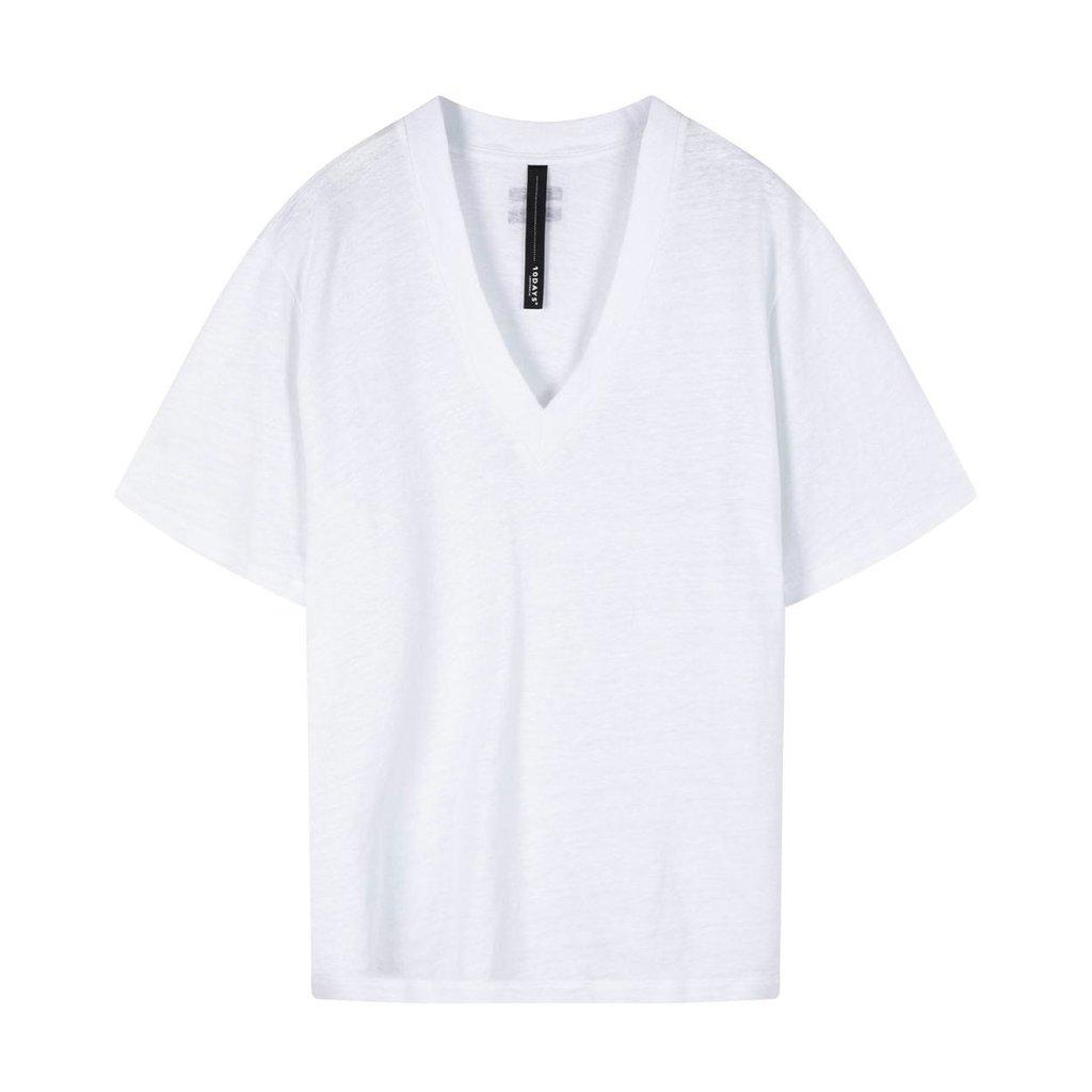 10Days White V-neck Tee Linen 20-756-0203