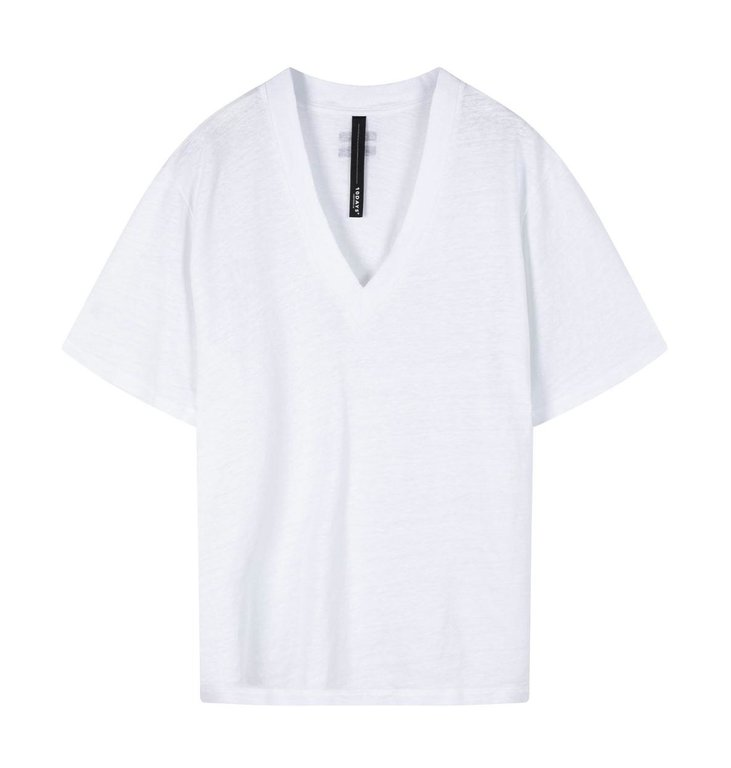 10Days 10Days White V-neck Tee Linen 20-756-0203