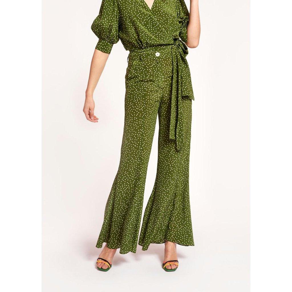 Essentiel Antwerp Green Flared Pants Waima
