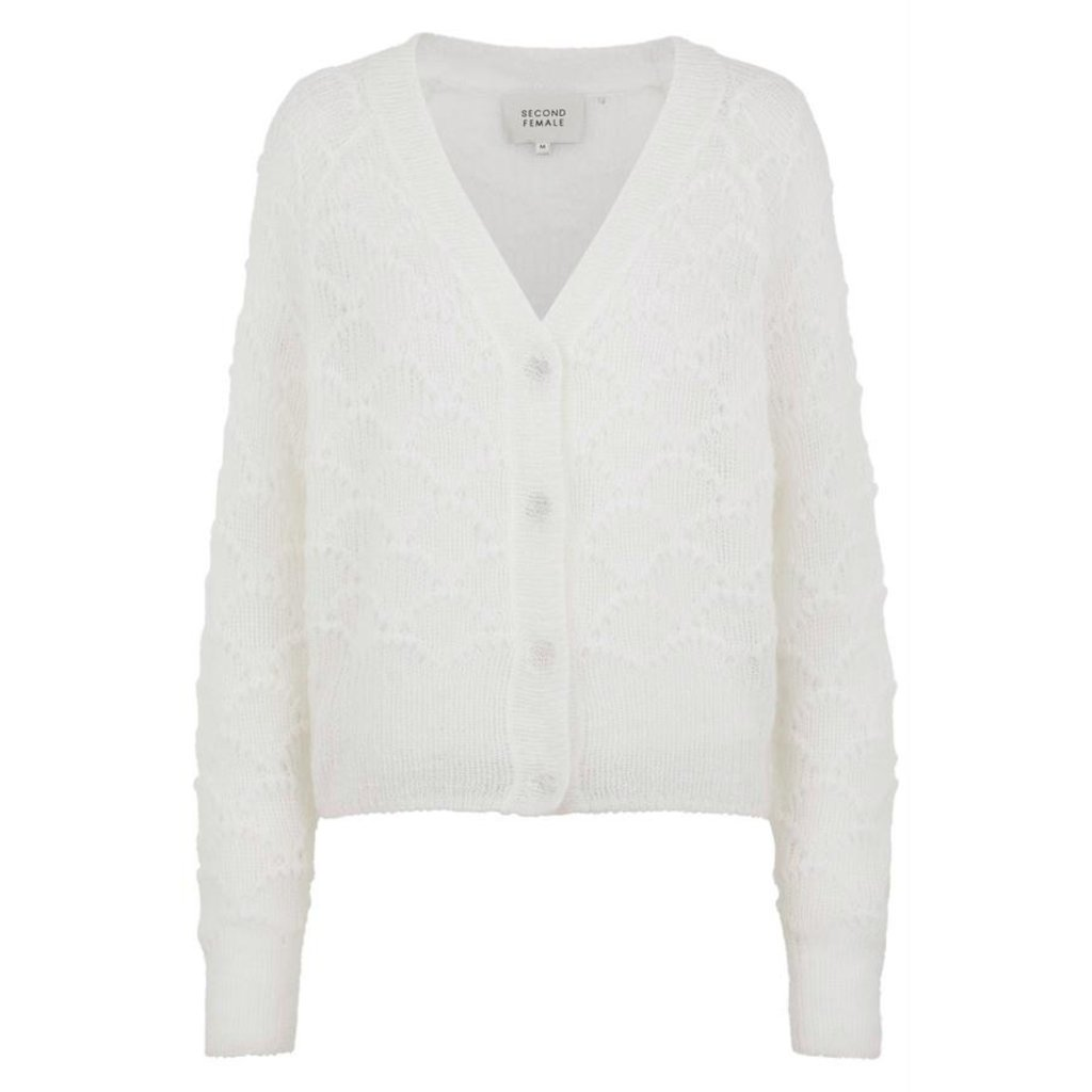 Second Female White Palm Knit Cardigan 52247