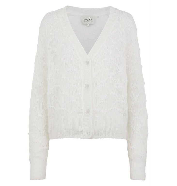 Second Female Second Female White Palm Knit Cardigan 52247