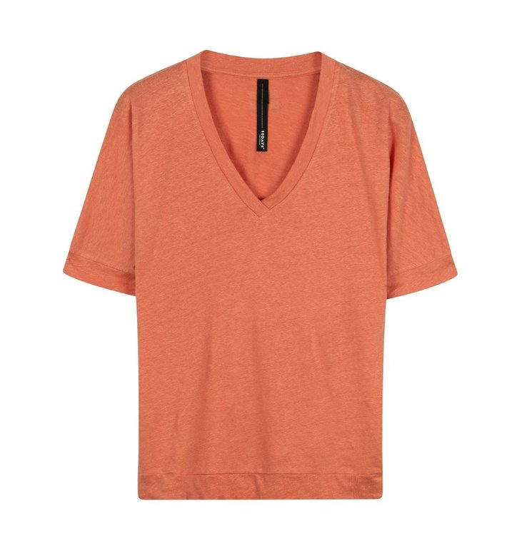 10Days 10Days Pink Terracotta v-neck tee linen 20-749-0203