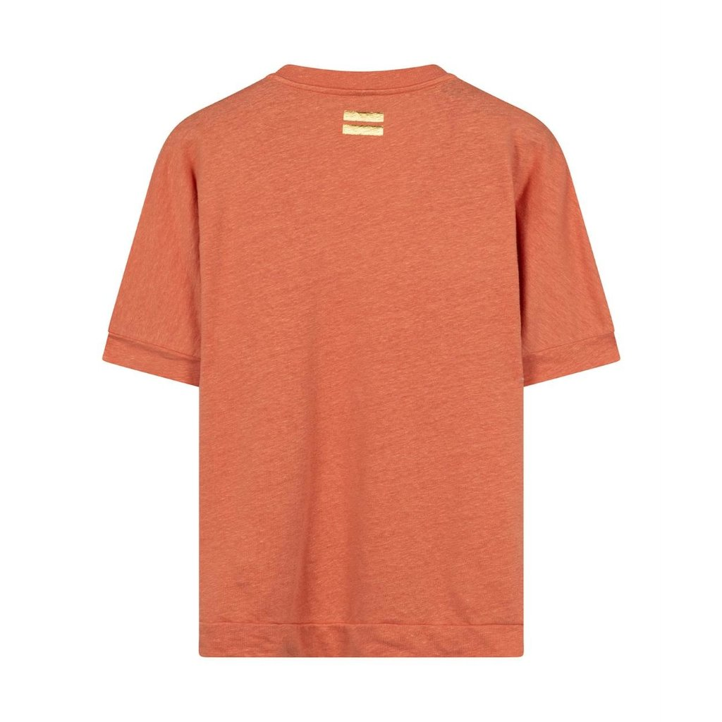 10Days Pink Terracotta v-neck tee linen 20-749-0203