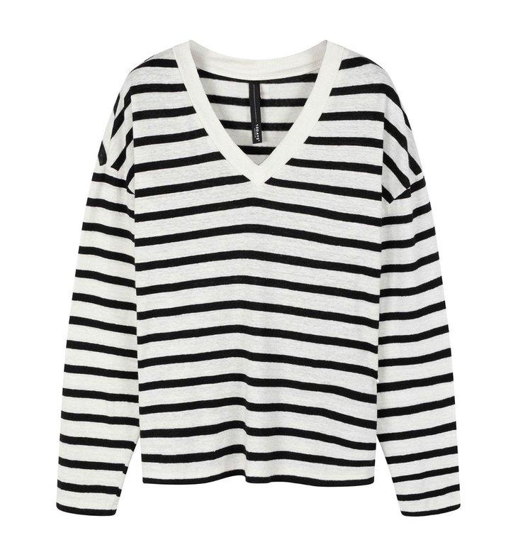 10Days 10Days Ecru/Black longsleeve v-neck stripes 20-775-0203