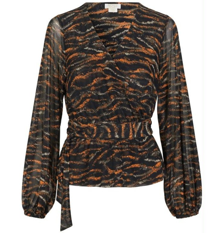 Notes du Nord Notes du Nord Black/Multicolour Rain Wrap Blouse 11826