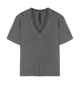 10Days 10Days Grey Low V-Neck Tee Linen 20-750-0206