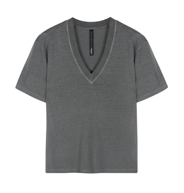 10Days 10Days Grey Low V-Neck Tee Linen 20-750-0206