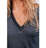10Days Grey Low V-Neck Tee Linen 20-750-0206