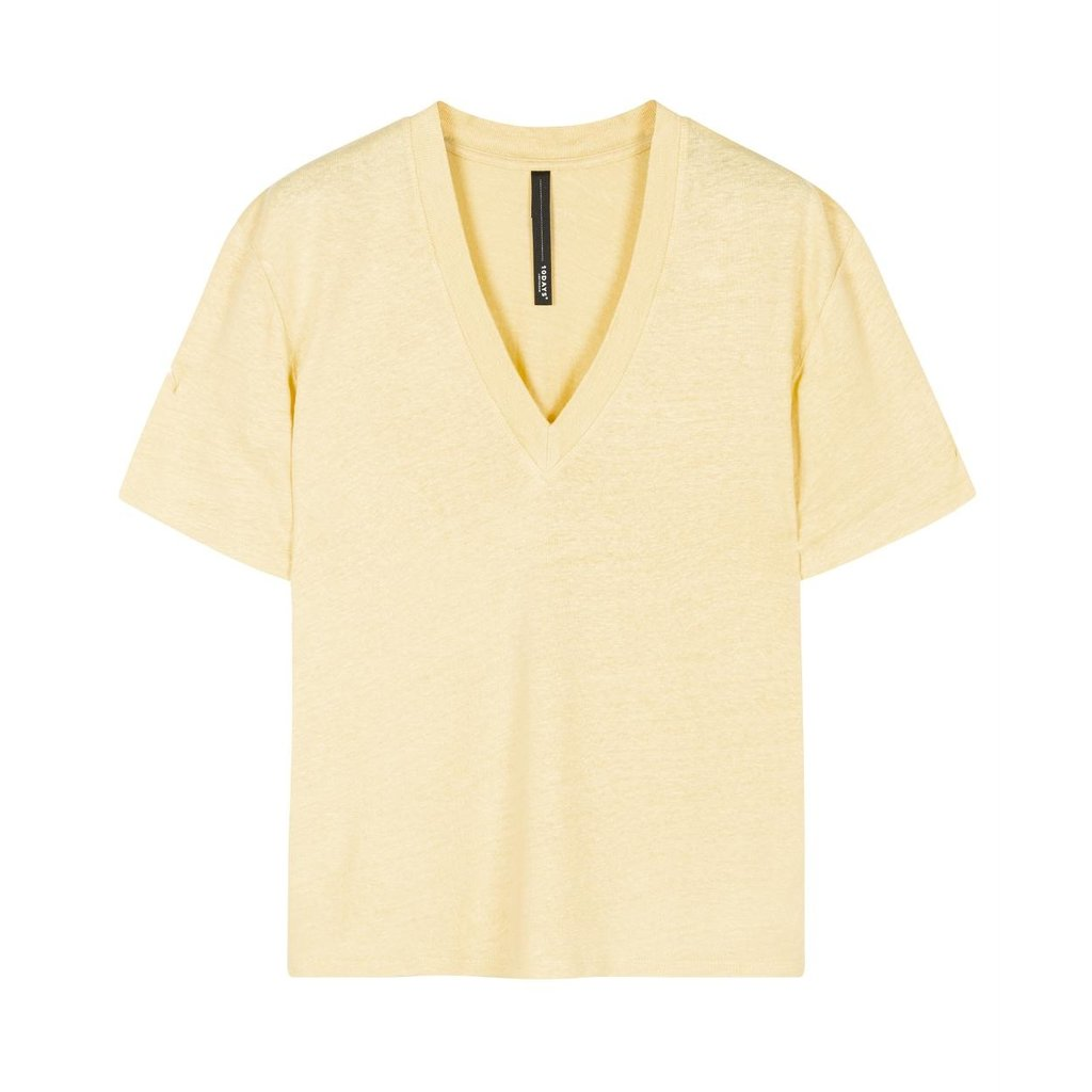 10Days Yellow Low V-Neck Tee Linen 20-750-0206