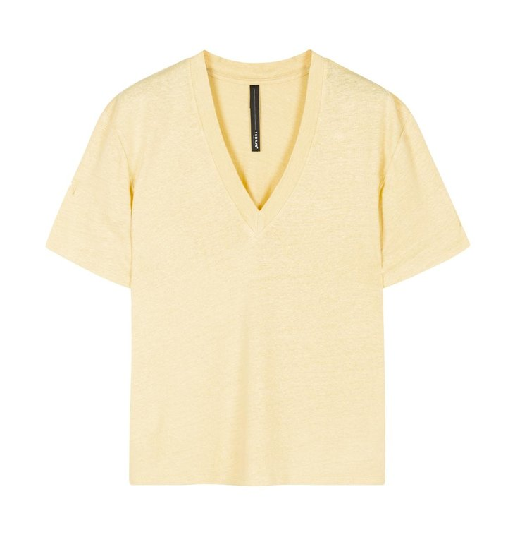 10Days 10Days Yellow Low V-Neck Tee Linen 20-750-0206