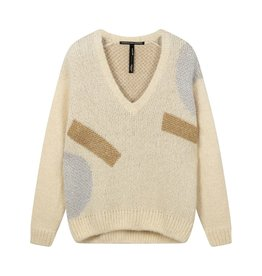 10Days 10Days Ecru sweater v-neck big ten 20-607-0203