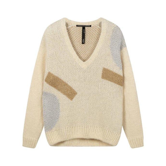 10Days Ecru sweater v-neck big ten 20-607-0203