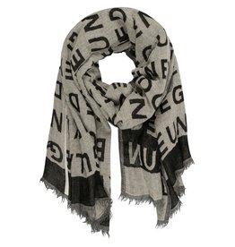 10Days 10Days Ecru scarf big slogan 20-905-0203