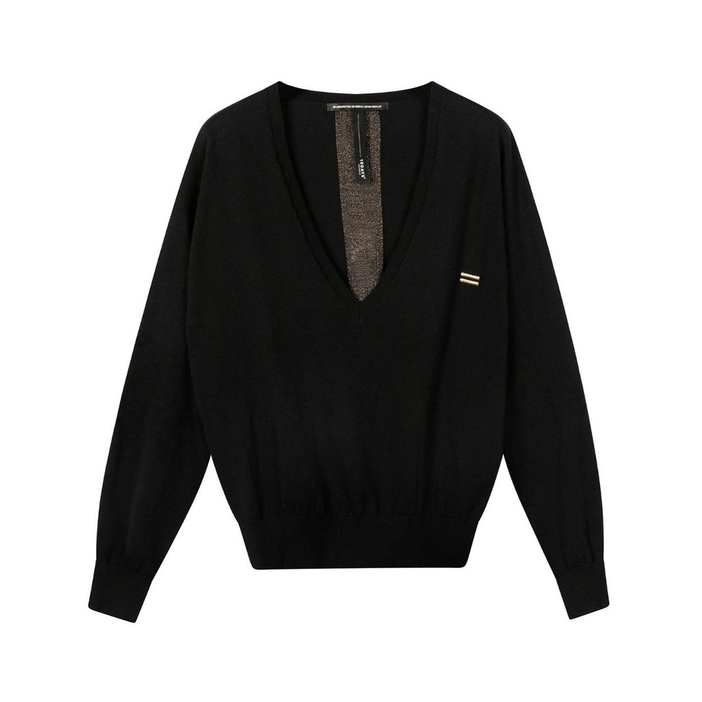 10Days Black sweater v-neck sparkle 20-609-0203