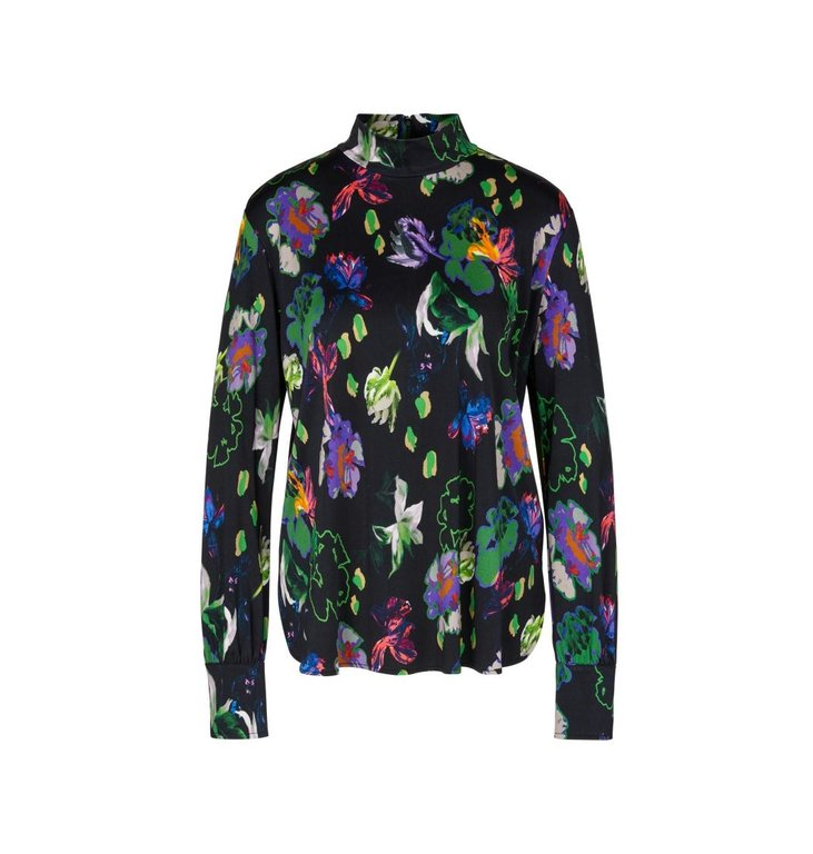 Marc Cain Marc Cain Black Blouse Floral PC4822-J05