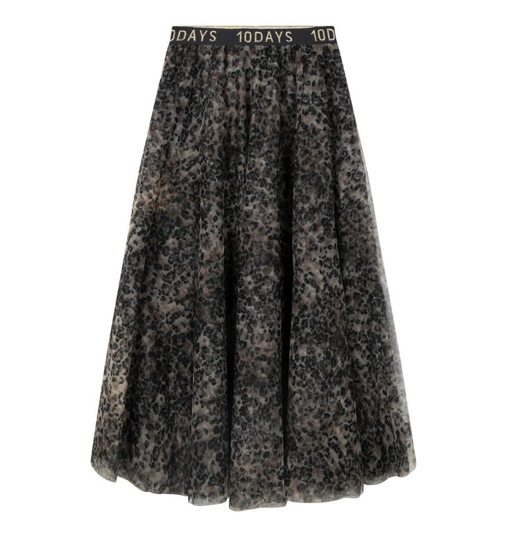 10Days 10Days Grey tulle skirt leopard 20-105-0203