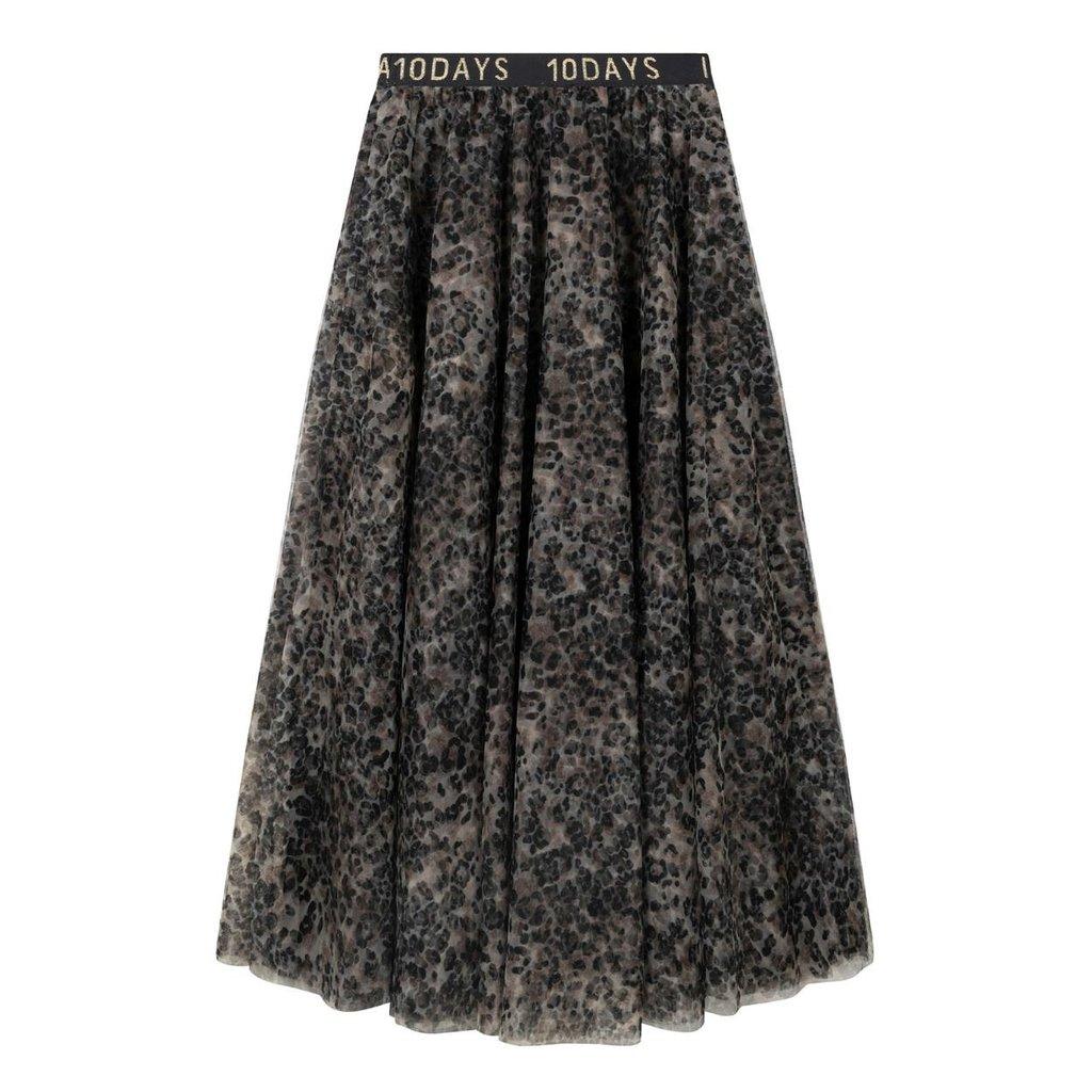 10Days Grey tulle skirt leopard 20-105-0203