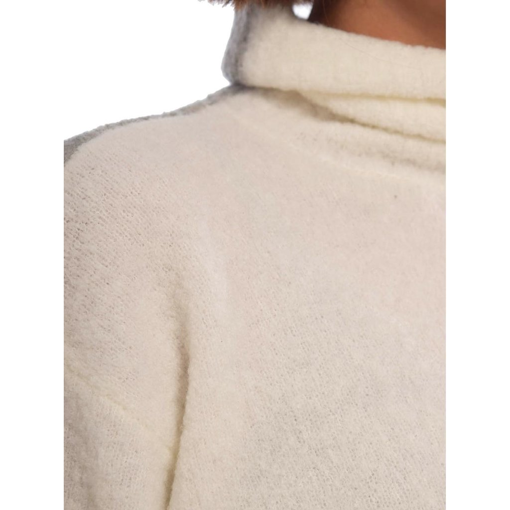 10Days Ecru/Light Grey Melee reversible coll sweater 20-603-0203
